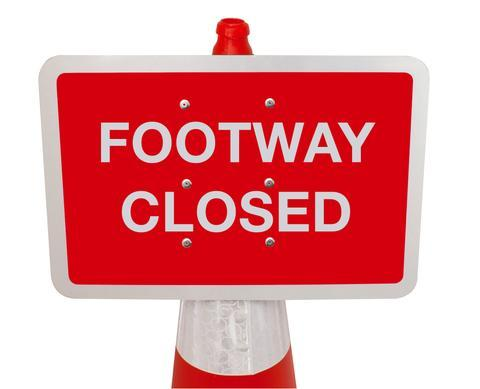 Plastic Cone Signs: Footway Closed - Orbit - Temporary Road Signs - Lapwing UK