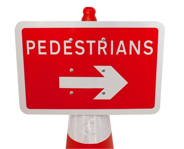 Plastic Cone Signs: Pedestrians Arrow Right - Orbit - Temporary Road Signs - Lapwing UK