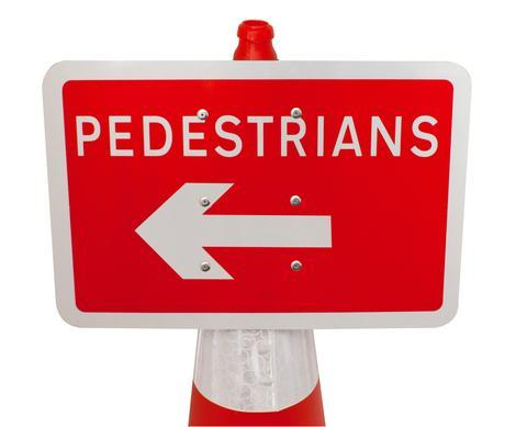Plastic Cone Signs: Pedestrians Arrow Left - Orbit - Temporary Road Signs - Lapwing UK
