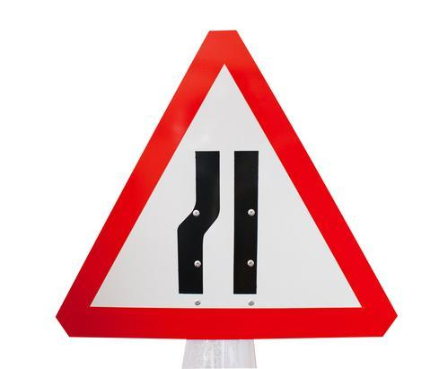Plastic Cone Signs: Road Narrows - Left - Orbit - Temporary Road Signs - Lapwing UK