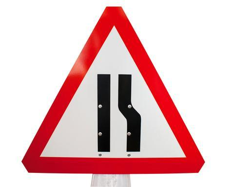 Plastic Cone Signs: Road Narrows - Right - Orbit - Temporary Road Signs - Lapwing UK