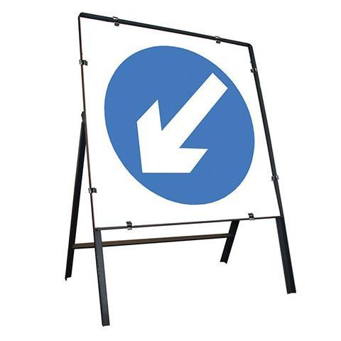 Metal Road Sign Blue Arrow Left Square