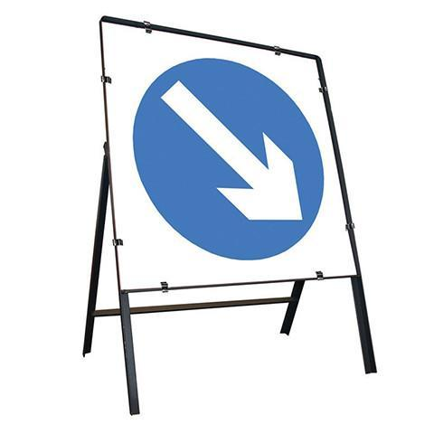 Metal Road Sign Blue Arrow Right Square - Orbit - Temporary Road Signs - Lapwing UK