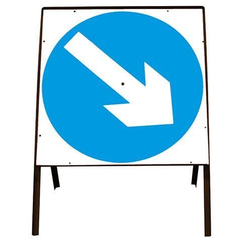 Metal Road Sign Blue Arrow Swivel Square