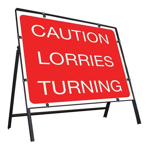 Metal Road Sign Caution Lorries Turning - Orbit - Temporary Road Signs - Lapwing UK