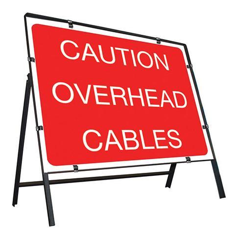 Metal Road Sign Caution Overhead Cable