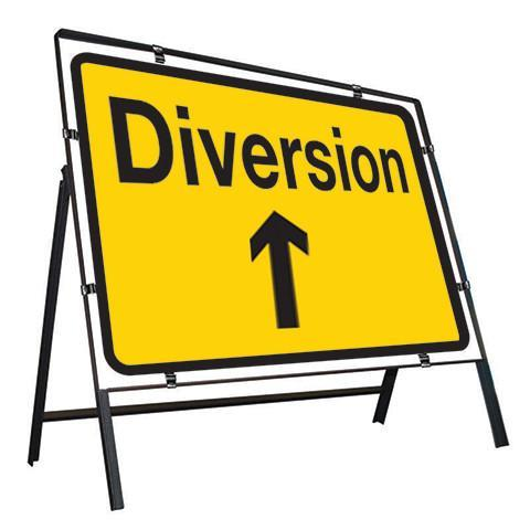 Metal Road Sign Diversion Arrow Ahead