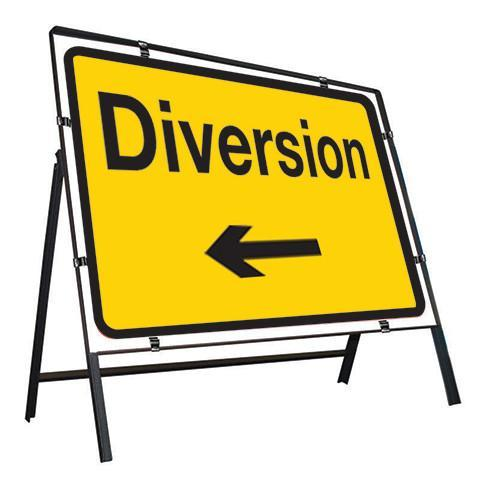 Metal Road Sign Diversion Arrow Left