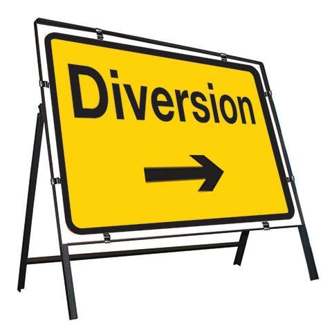 Metal Road Sign Diversion Arrow Right