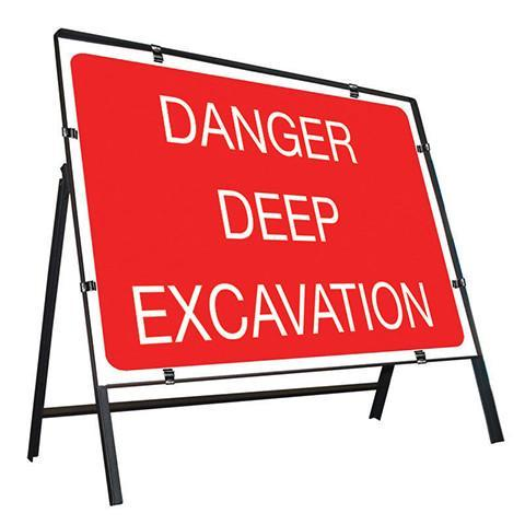 Metal Road Sign Danger Deep Excavation
