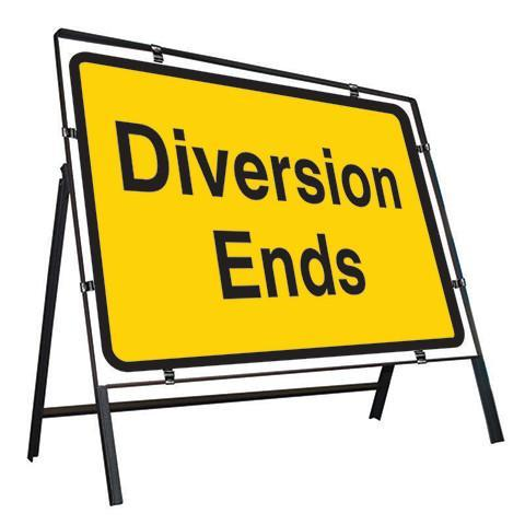 Metal Road Sign Diversion Ends