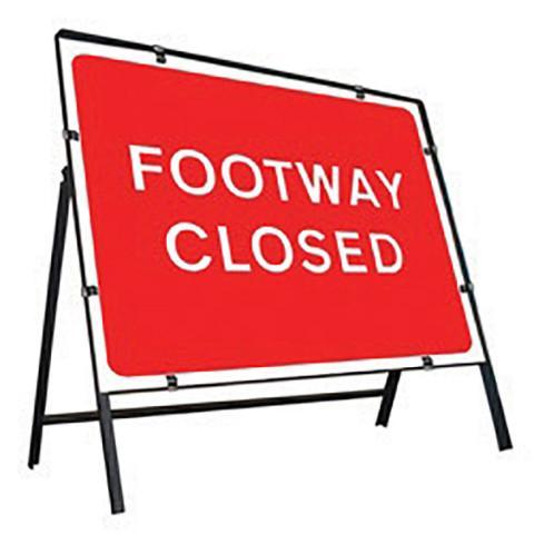 Metal Road Sign Footway Closed