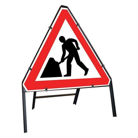 Metal Road Sign Triangle Men At Work