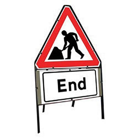 Metal Road Sign Triangle Men At Work End - Orbit - Temporary Road Signs - Lapwing UK
