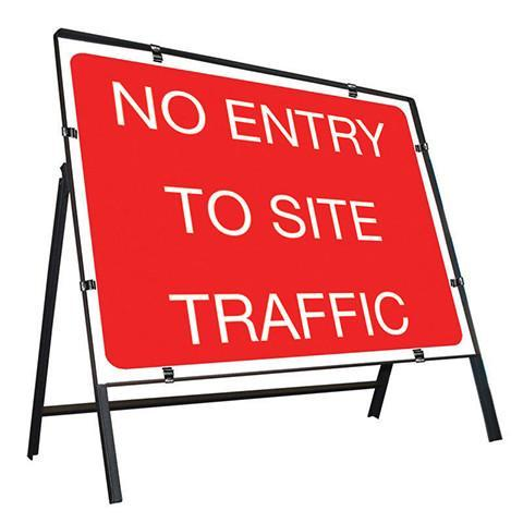 Metal Road Sign No Entry To Site Traffic