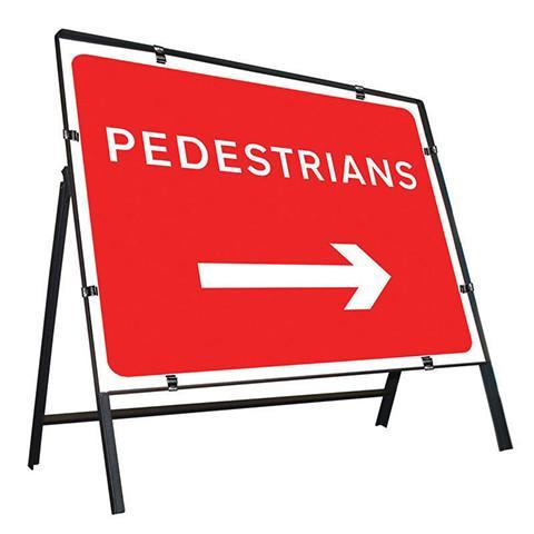 Metal Road Sign Pedestrians with Reversable Arrow