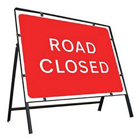 Metal Road Sign Road Closed - Orbit - Temporary Road Signs - Lapwing UK