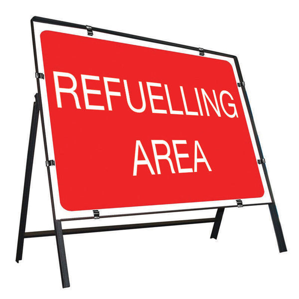 Metal Road Sign Refuelling Area - Orbit - Temporary Road Signs - Lapwing UK