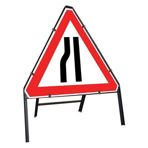 Metal Road Sign Triangle Road Narrowing Left Sign