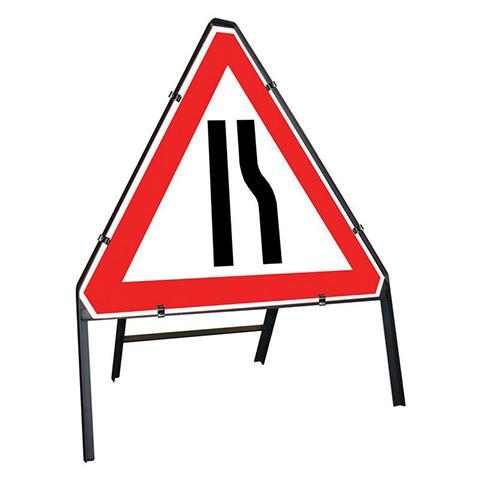 Metal Road Sign Triangle Road Narrowing Right Sign - Orbit - Temporary Road Signs - Lapwing UK