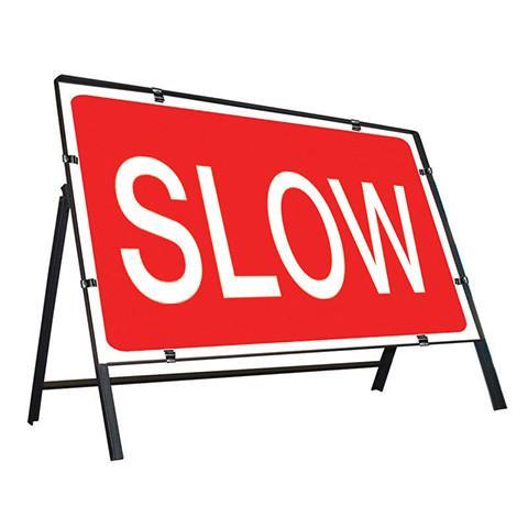 Metal Road Sign Slow - Orbit - Temporary Road Signs - Lapwing UK