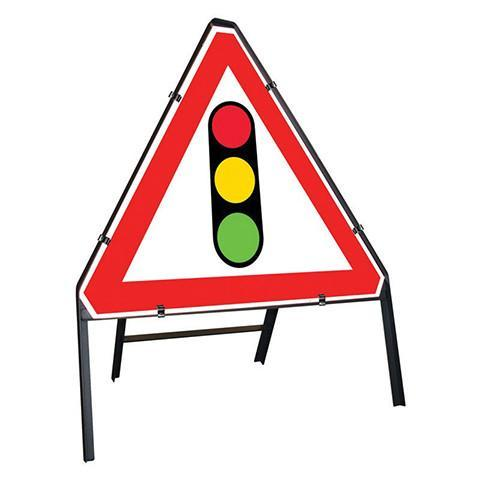 Metal Road Sign Triangle Traffic Lights
