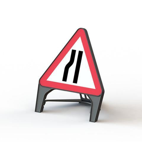 Plastic Road Sign - Road Narrows Left