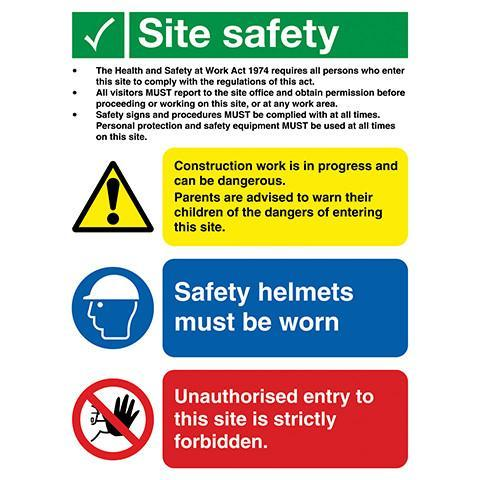 Site Safety Sign 3 Panel With Legal Text - Orbit - Safety Signage - Lapwing UK