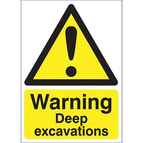 Safety Signs Warning Deep Excavations