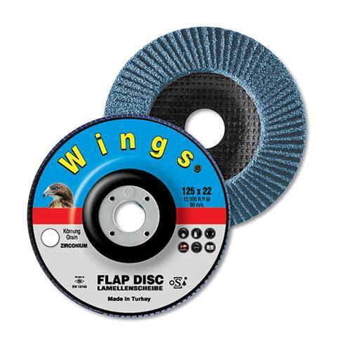 Wings Flap Discs ZR Metal Depressed 40-125-22 - Wings - Abrasives, Cutting & Grinding - Lapwing UK