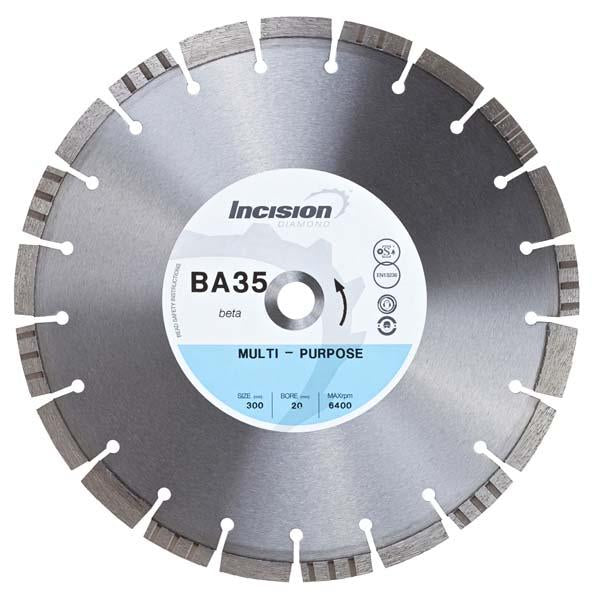 BA-35-350/25 Beta Range Multi-Purpose Diamond Blades - Incision - Diamond Tools - Lapwing UK
