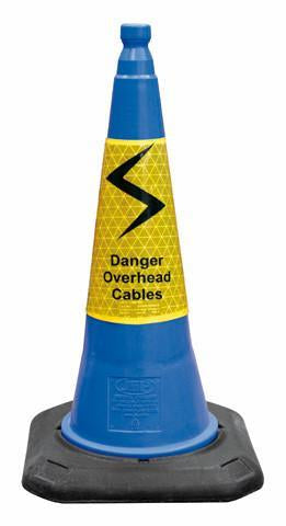 2 Part Blue Cone W/Danger O/Head Cable Sleeve - Orbit - Traffic Management - Lapwing UK