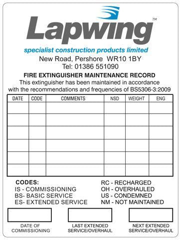 Fire Extinguisher Service Inspection Sticker - Orbit - Fire Protection - Lapwing UK
