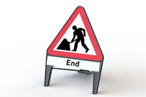 Plastic Road Sign - Men At Work End - Orbit - Temporary Road Signs - Lapwing UK