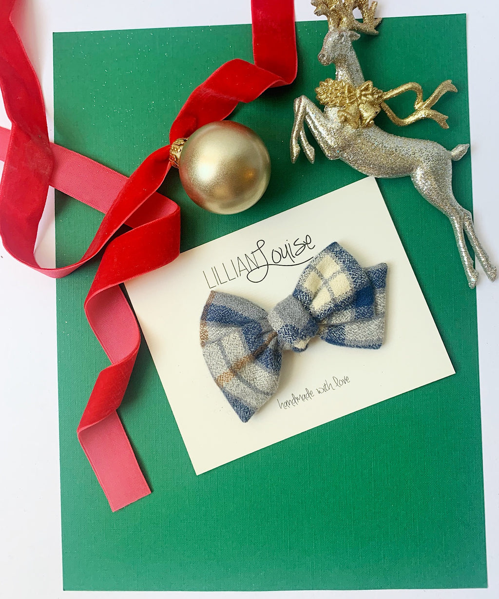Petite Louise Bow in Navy and Cream Plaid
