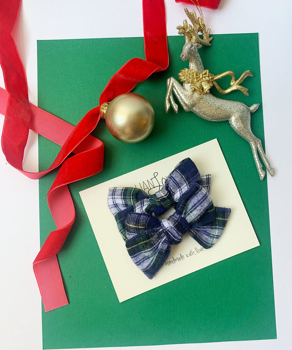 Petite Louise Bow in Navy and Green Plaid- Pigtail Set