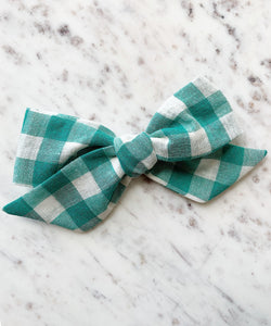 Louise Bow in Jade Gingham