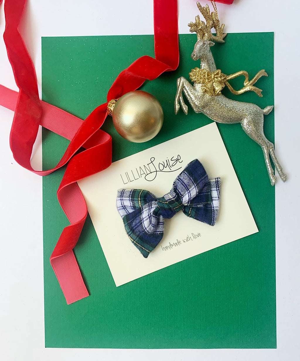 Petite Louise Bow in Navy and Green Plaid
