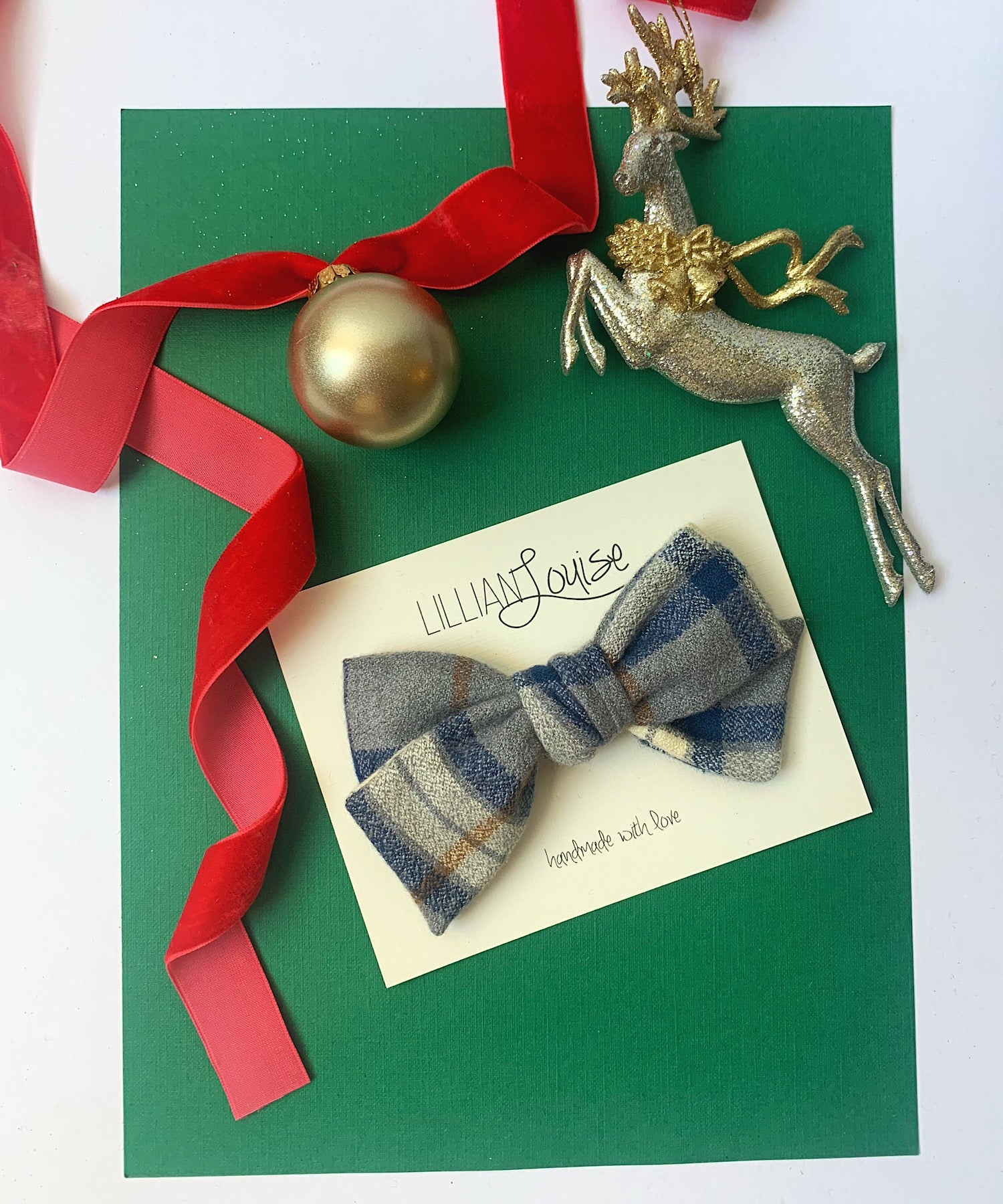 Louise Bow in Navy and Cream Plaid