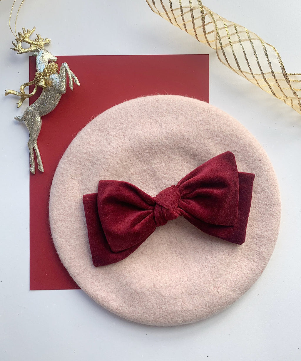 Blush Pink Beret with Wine Velvet Bow