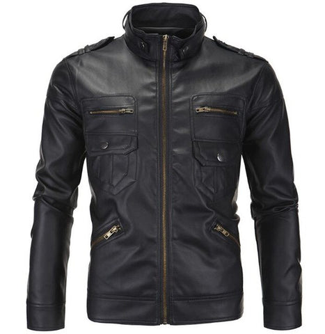 New Vintage Retro Motorcycle Jackets Men PU Leather Jacket Biker Punk Classical Zipper Windproof Moto Jacket Size M-4XL