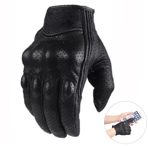 Racing Motocross Moto Gloves Leather Retro Touch Screen Full Finger Motor Motorcycle Leather Gloves Men Women Guantes Luvas