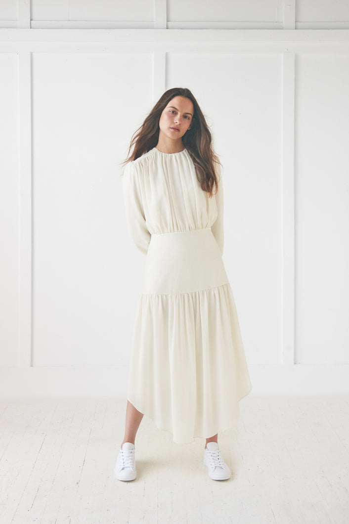 Cream Velvet Yolk Dress