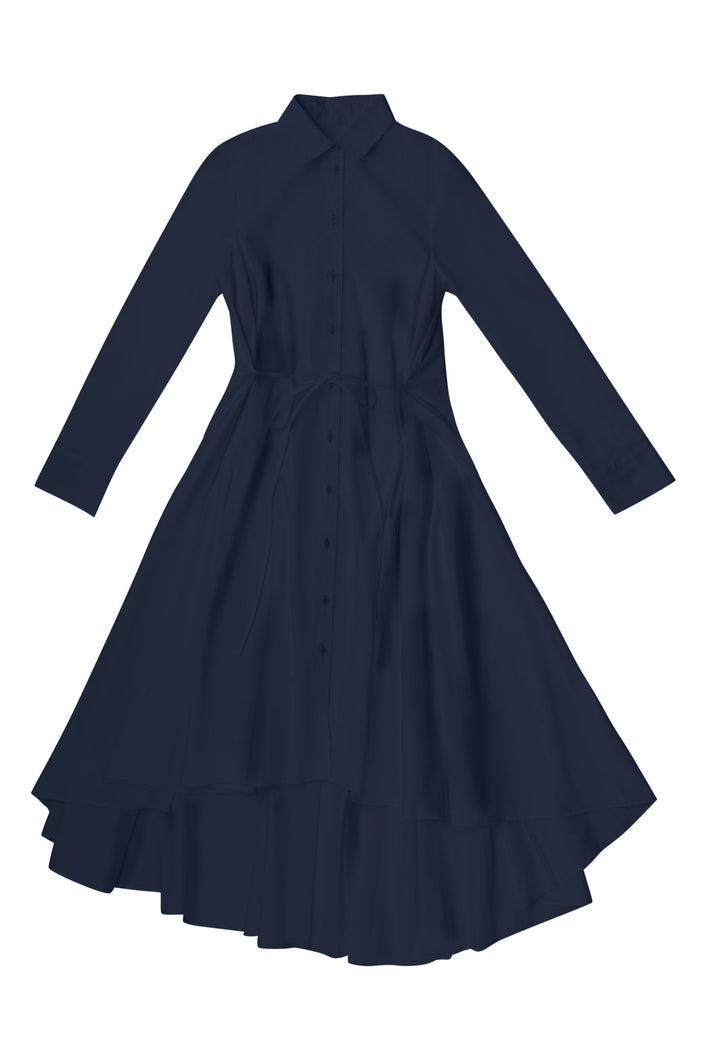 Navy Voluminous Shirt Dress