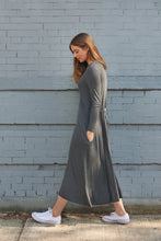 Load image into Gallery viewer, Dark Grey Tie Back Rib Dress