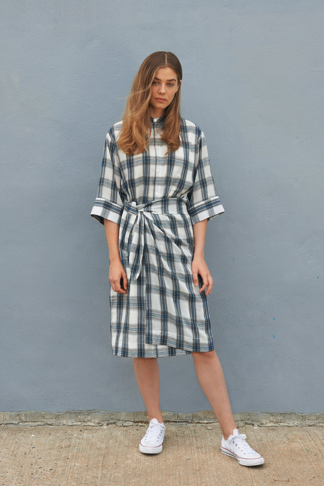 Plaid Mandarin Collar Shirt Dress