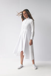 White Voluminous Shirt Dress