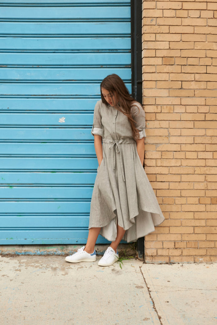 Grey Shirt Dress - Unaya women's modest tops skirts dresses jewish girls conservative clothing fashion apparel