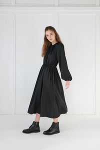 Black Gathered Dress - Unaya women's modest tops skirts dresses jewish girls conservative clothing fashion apparel