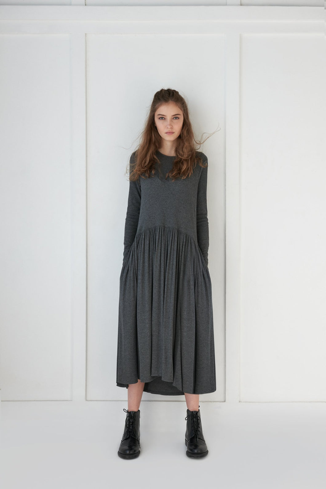 Grey Ribbed Dress - Unaya women's modest tops skirts dresses jewish girls conservative clothing fashion apparel